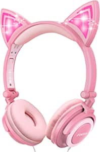 Ifecco Kids Headphones, Boys Girls Teens Foldable Adjustable Wired On-Ear Headset 3.5mm Aux Jack Stereo Tangle-Free, 85 dB Volume Limited Childrens Headphones for School Home, Travel (Pink)