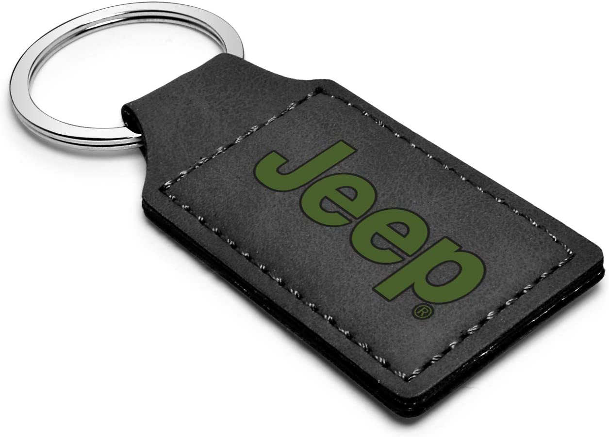 iPick Image Jeep in Green Rectangular Black Leather Key Chain