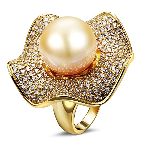 PSRINGS Rings women k gold plated with Cubic zircon imitation pearl Ring designer jewelry 8.0
