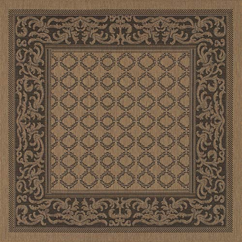 Cocoa Black Area Rug - Couristan 1016/2000 Recife Garden Lattice Cocoa/Black Rug, 8-Feet 6-Inch Square