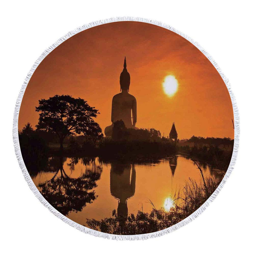 Thick Round Beach Towel Blanket,Asian Decor,Big Giant Statue by the River at Sunset Thai Asian Culture Scenery Zen Print Decorative,Burnt Orange,Multi-Purpose Beach Throw