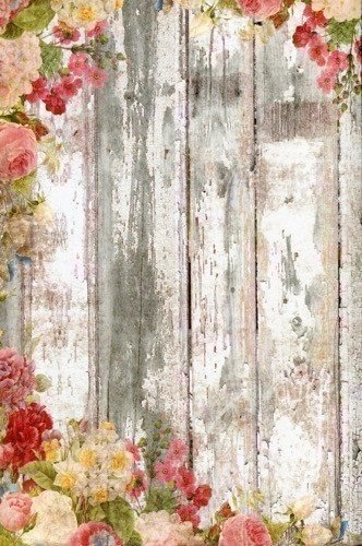 Backdrop Outlet 5x6 Rustic White Wood Floor Floral Flower Printed Photography Background Photo