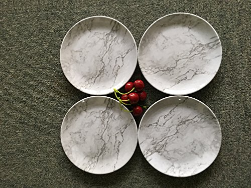 4-Piece Large Dinner Plates Set - 11 Inch Salad Dishes Set, Marble-Like Design (Marble Dinner Set)