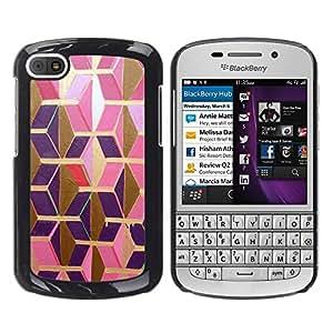 LECELL--Funda protectora / Cubierta / Piel For BlackBerry Q10 -- Gold Pink Purple Polygon 3D Dimensional --