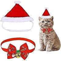 Sombrero de Navidad para Mascotas, YIKE 3 Piezas de Sombrero Pajarita Campana Pajarita de Mascotas de Navidad para Perros Gatos Mascotas Pequeños