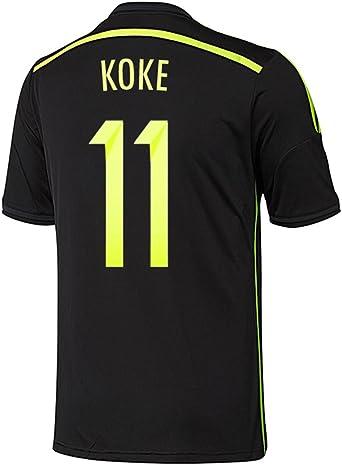 adidas Koke # 11 España Away Jersey Copa del Mundo 2014, Negro: Amazon.es: Deportes y aire libre