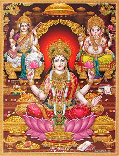by burning desire poster Shri Lakshmi/Laxmiji/Goddess Wealth Ganesha/Ganpati Saraswati/Ganesh-Laxmi-Saraswathi Poster 12x18