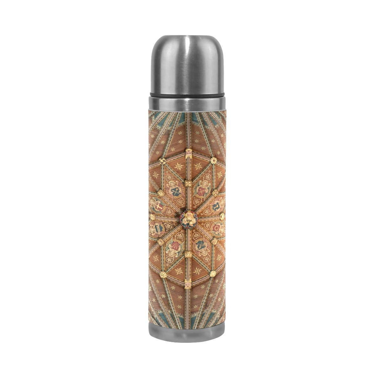 Architecture Wood Texture 500ML Stainless Steel Double Walled vacuum insulated water bottle Travel Mug Leather Cover Thermos 17 oz