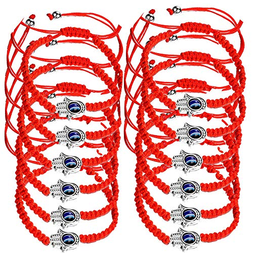 (Reizteko 12pcs Lucky Hamsa Red String Line Kabbalah Bracelets Bracelet Bangle Braided String Cord and Rotating Evil Eye Hamsa Hand - Jewish Amulet Pendant Jewelry for Success and Protection Lucky)