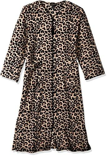 Miss Elaine Women's Plus Size Leopard Print Short Zip Rob...