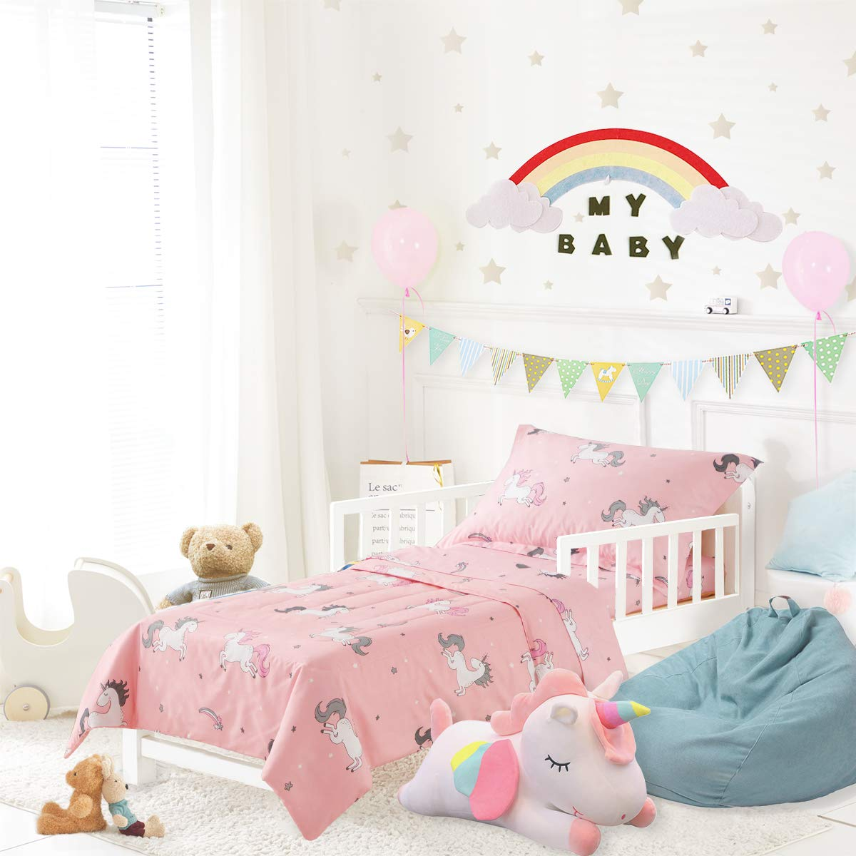 Amazon Com Uozzi Bedding Unicorn 4 Pieces Toddler Bedding Set With Colorful Rainbow Stars Pink Cute Girls Toddler Bed Comforter Sheet Set And Pillowcases Kitchen Dining
