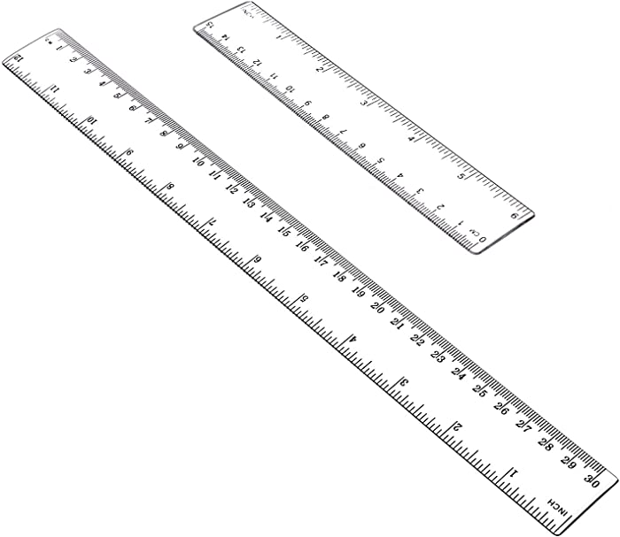 "Allinone Plastic Ruler Flexible Ruler with inches and metric Measuring Tool 12"" and 6"" inch (2 pieces)"