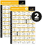 """VOL 1+2 BODYWEIGHT EXERCISE POSTER 2-PACK LAMINATED - Total Body Workout - Personal Trainer Fitness Program - Home Gym Poster - Tones Core, Abs, Legs, Gluts & Upper Body Training Routine (20"""" x 30"""")"""