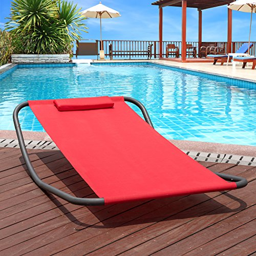 Sun Lounger (Lazy Daze Hammocks Patio Garden Outdoor Rocking Lounger Hammock Swing Bed with Pillow (Red))