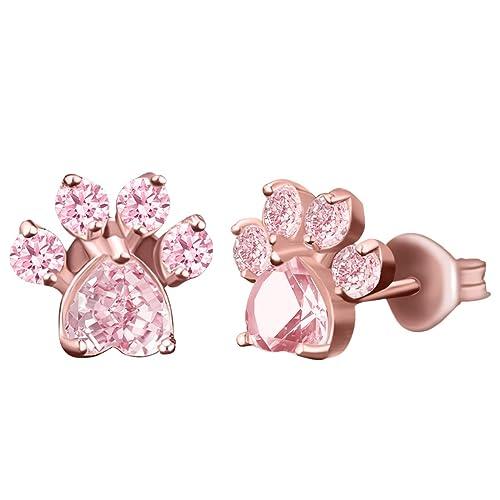 Pendientes de oro rosa con cristales para mujer, diseño de huellas de huellas y pendientes de cuarzo rosa para niñas: Amazon.es: Joyería