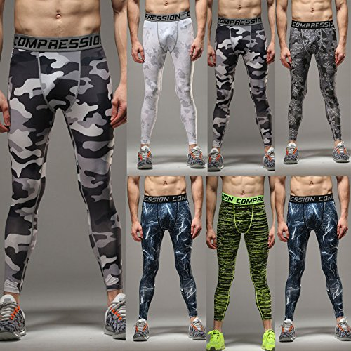 3729a3735ba87 COOLOMG Compression Pants GYM Running Tights Length Pants Leggings For Men  Youth Boy
