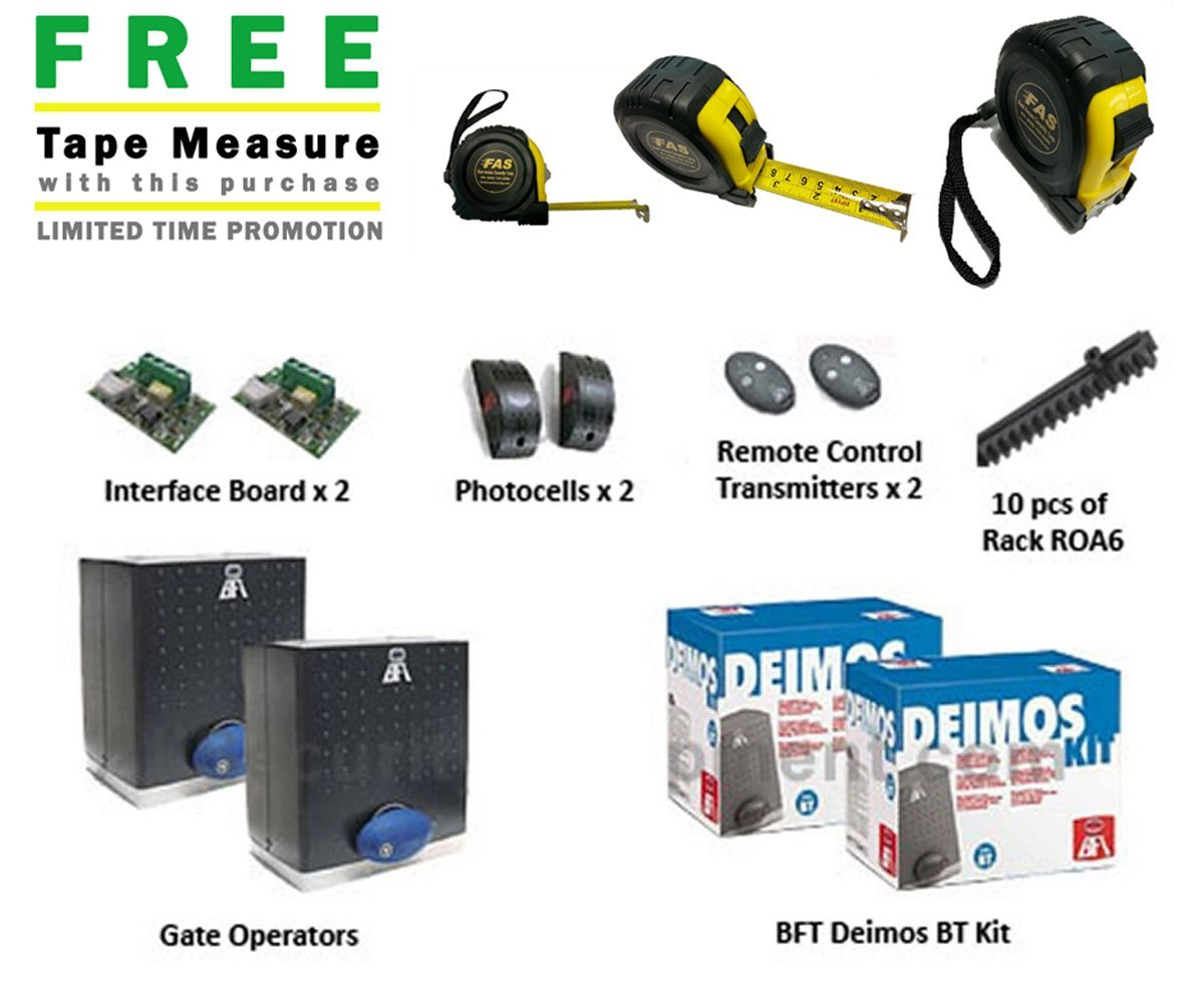 Bft Deimos Dual Bt Residential Slide Gate Opener Kit W Operators And Operator Radio Control Transmitter Battery Back Up Includes A Free Heavy Duty Fas Tape Measure Part Tmpromo18