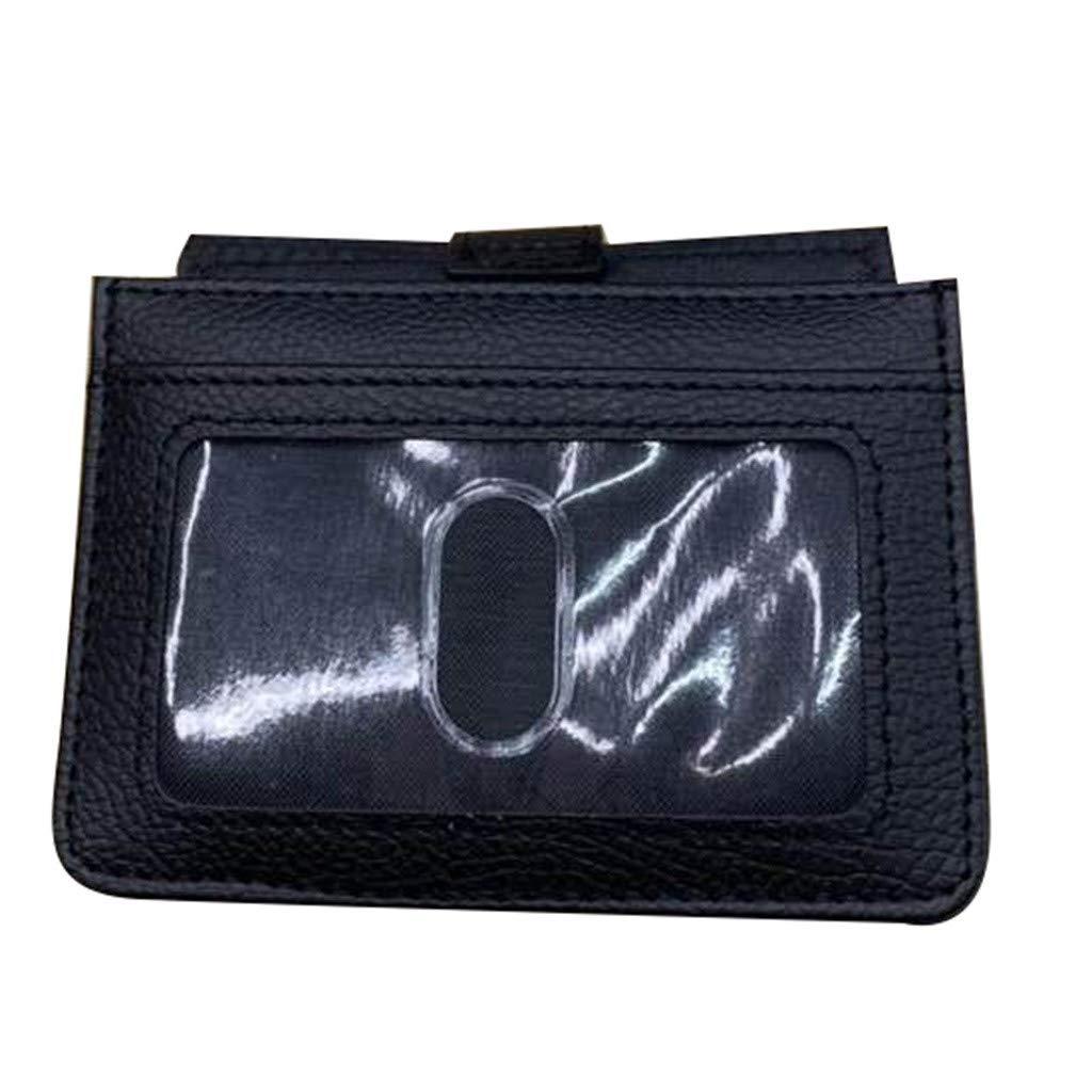 Nesee Multifunctional Slim Leather Card Storage Bag Prevents Identify Top Telescopic Wallet Card Bag Front Pocket Wallet Credit Card Disassembly D-Shackle Men Wallet