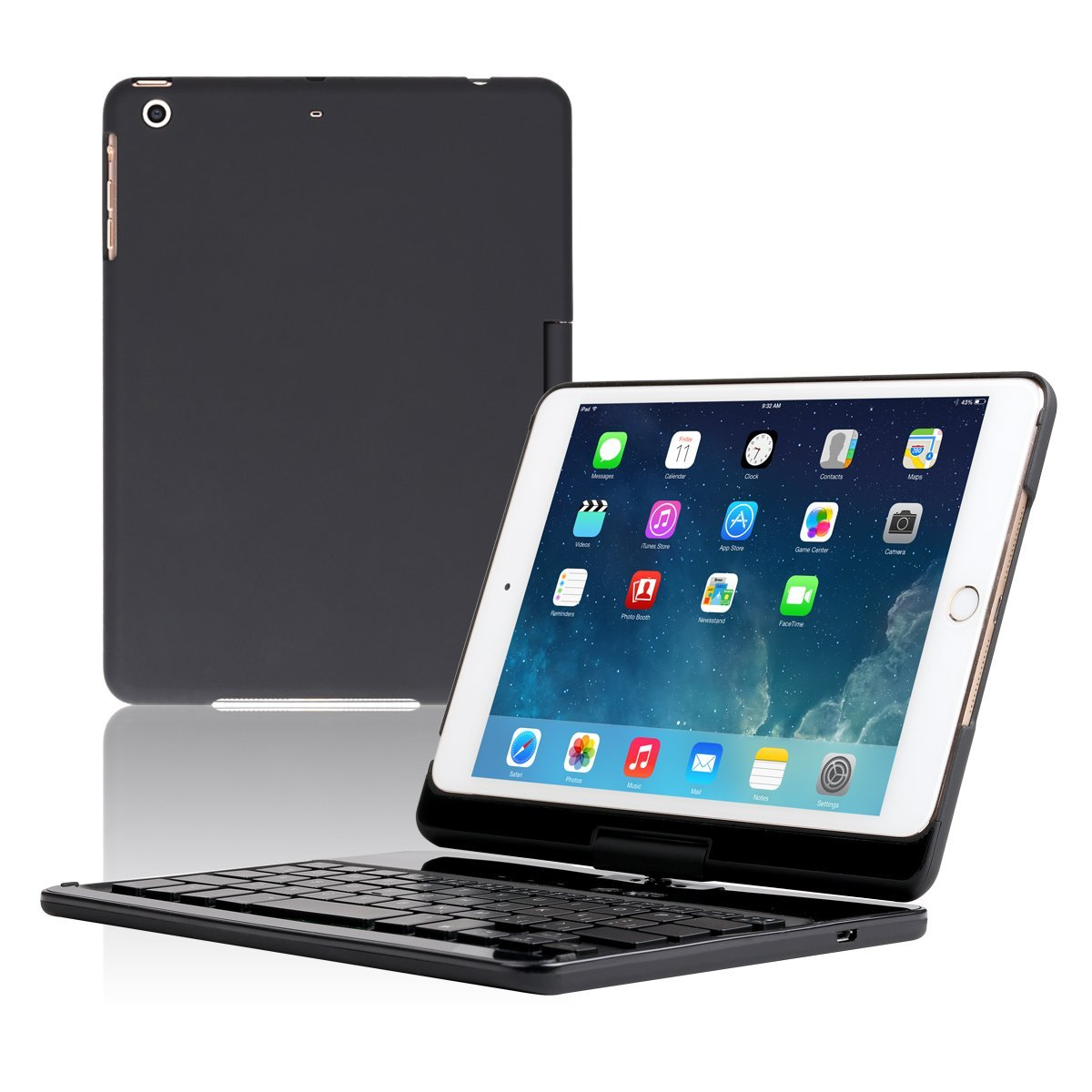 Koch Creative Backlit Wireless Keyboard 360 Rotation Auto Sleep/Wake up for iPad Mini 123(Black)