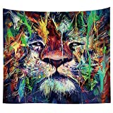 Animal Wall Hanging Tapestry Wall Art Tapestries Mandala Bohemian Tapestry Hippie Tapestry Beach Tapestry Indian Dorm Decor Tapestry Wall Carpet Table Cloth (59.1''W x 40''H, Color Painting Lion)