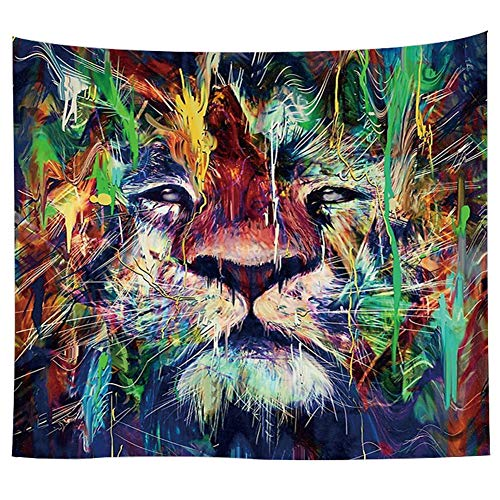 Animal Wall Hanging Tapestry Wall Art Tapestries Mandala Bohemian Tapestry Hippie Tapestry Beach Tapestry Indian Dorm Decor Tapestry Wall Carpet Table Cloth (59.1''W x 40''H, Color Painting Lion) by KABAKE