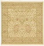 Unique Loom Edinburgh Collection Oriental Traditional French Country Cream Square Rug (4' x 4')