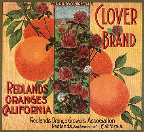 Redlands, California - Clover Brand - Vintage Label (12x18 Art Print, Wall Decor Travel Poster)