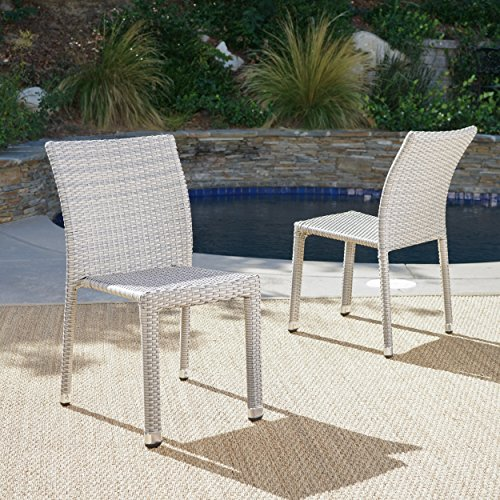 Dorside Outdoor Chateau Grey Wicker Armless Stacking Chairs with an Aluminum Frame (Set of ()