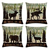 KACOPOL Vintage Background Wildlife Elk Moose Bear Deer Pine Tree Forest Throw Pillow Covers Cotton Linen Pillowcase Cushion Cover Home Office Decor Square 18'' X 18'' Set of 4 (Elk, Moose, Bear & Deer)