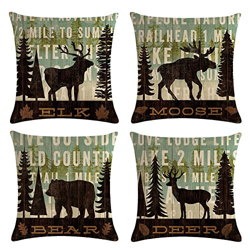 "Decroitem Retro Vintage Background Wildlife Elk Moose Bear Deer Pine Tree Forest Mountain Throw Pillow Covers Cotton Linen Pillowcase Cushion Cover Christmas Home Decor 18"" X 18"" Set of 4 (Animals 1)"