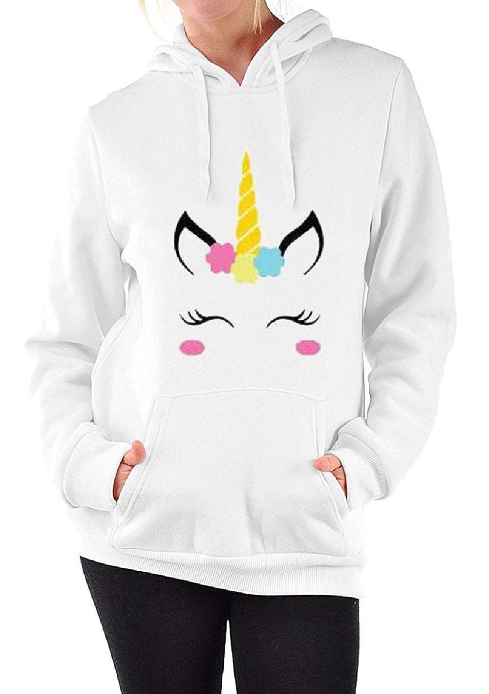 Felpa Unicorno con Cappuccio e Orecchie Pullover Donna Inverno ... 6412b146364