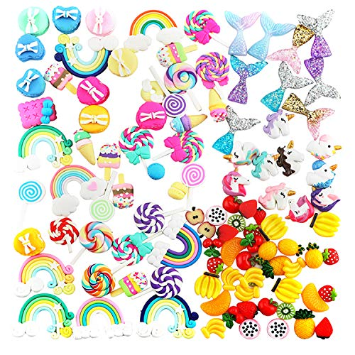 Slime Charms - Mixed Fruits Slime | Sweet Candy Slime | Mermaid Tails Slime | Unicorns Slime | Rainbows Slime Beads Resin Flatback Making Supplies for DIY Scrapbooking Crafts -
