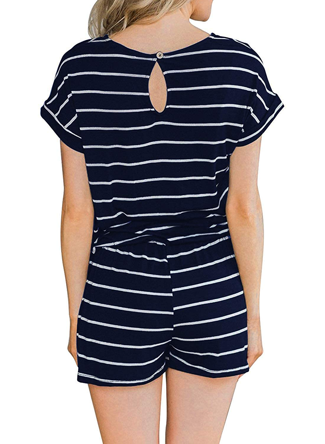Hount Womens Summer Short Sleeve Romper Casual Loose Stirped Short Rompers Jumpsuits with Pockets