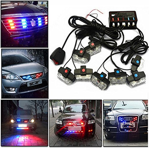 LED Warning Lights, Gliving Car Emergency Hazard Warning Strobe Light Flash Waterproof and Deck Decorative Lights for Front Grille Deck (Red/Green)