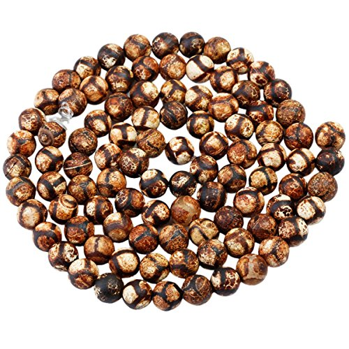rockcloud Black Banded Football Fire Agate Loose Beads Round 8mm Approxi 14