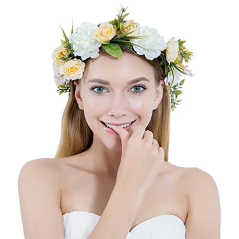 Buy Women Flower Wreath Crown Floral Wedding Garland Headband Handmade Bridal  Hair Accessories Online at Low Prices in India - Amazon.in e3a7a811aacb