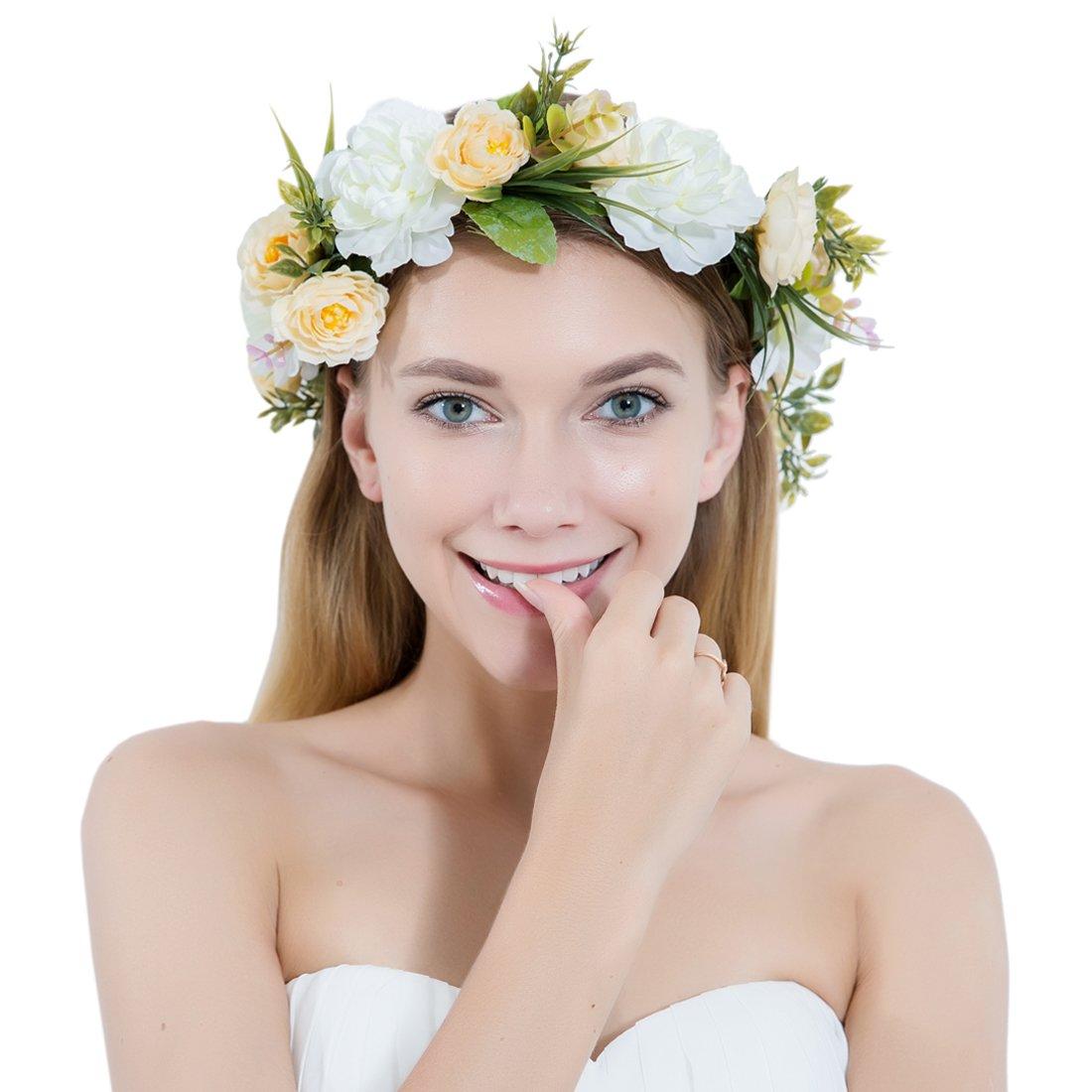 Amazon women flower wreath crown floral wedding garland women flower wreath crown floral wedding garland headband handmade bridal hair accessories izmirmasajfo