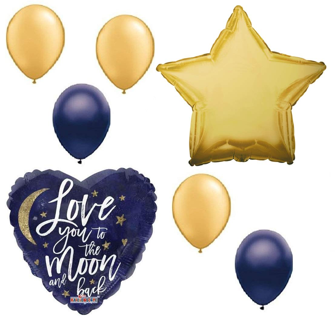 7 pc Love You to the Moon and Back Gold and Blue Balloon Bouquet Party Decoration Welcome Baby Shower Happy Birthday   B07B5VZ277