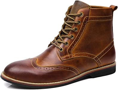 Mens Casual Leather Combat Boots Ankle