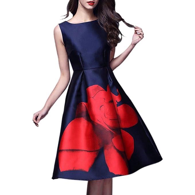 iBaste Vestido de estilo Vintage Hepburn Tela de Seda y Satén con Cuello redondo Impresión de Rosa roja Vestido acampanado sin mangas de cintura delgada: ...