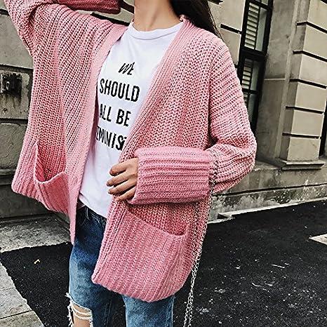 SZYL-Sweater Hit Farbe Pullover Herbst und Winter koreanischen einreihigen Damen  Pullover Pullover Strickjacke Frauen Kleidung, grau, eine Größe  Amazon.de   ... 42d36aa8b6
