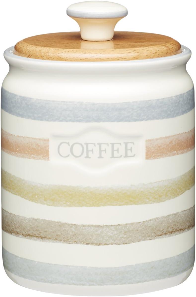 28/ml 800/ml Kitchen Craft Classic Collection a Righe in Ceramica Tea Caddy Colore: Panna