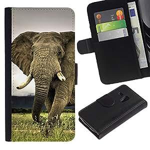 Planetar® Modelo colorido cuero carpeta tirón caso cubierta piel Holster Funda protección Para Samsung Galaxy S3 MINI i8190 (NOT S3) ( Linda criatura Animal Elefante Majestic )