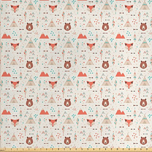 Amber Living Room Upholstery - Ambesonne Tribal Fabric by The Yard, Cute Ethnic Primitive Fox Arrows Bear Lodge Houses Feather Graphic, Decorative Fabric for Upholstery and Home Accents, White Salmon Amber Teal