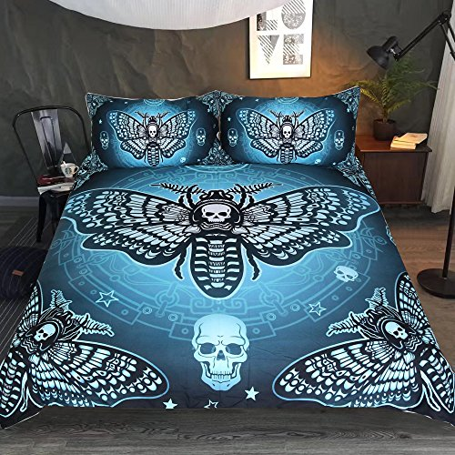 Sleepwish Skull Moth Bedding 3 Piece Dead Moth with Stars Butterfly Skull Duvet Cover Blackish Green Gothic Halloween Bed Set (King)]()