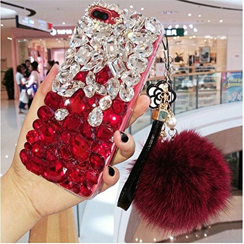 Price comparison product image HWSH LG Stylus 2 / LG G Stylo 2 LS775 / LG Stylo 2 Plus Luxury Bling Glitter Diamond Sparkle Crystal Rhinestone Phone Case Cover With Rabbit Full Ball Lanyard