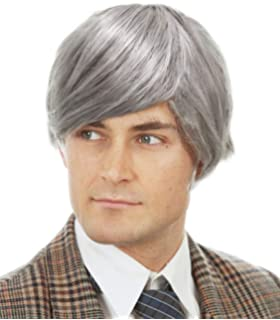 Amazon Com Smiffys Men S Short Grey Wig With Side Swept Bangs One