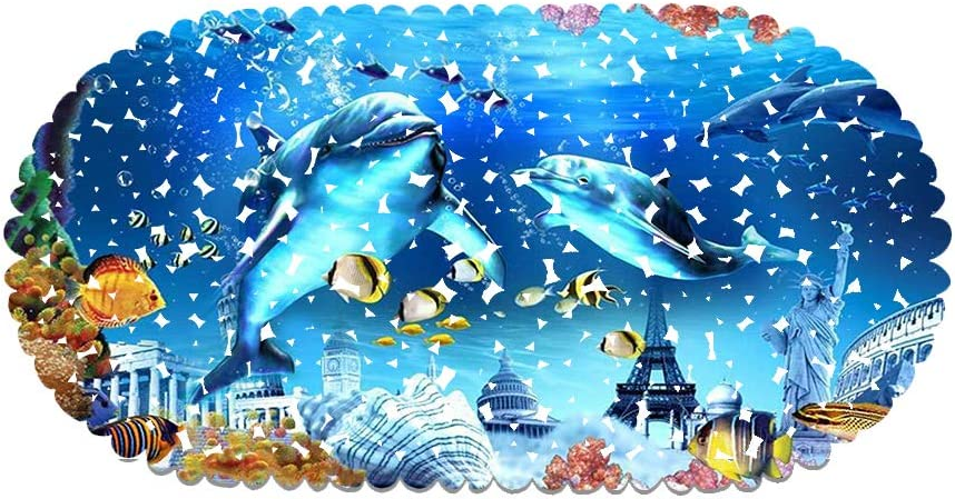 Muster 01 Duschmatte Blauer Ozean Delphin rutschfeste Saugn/äpfe Oval 35x70cm Geeignet F/ür Kinder Und Schwangere