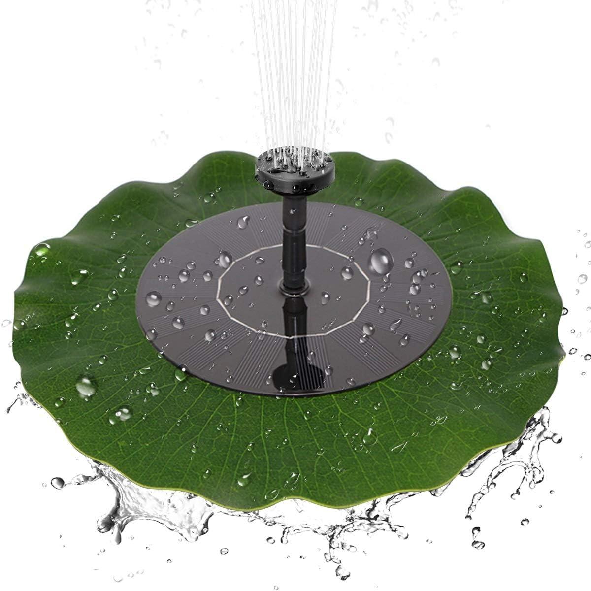 Eurobuy Bomba de Fuente Solar 1.4W Bomba de Agua sin escobillas de Fuente de Hoja de Loto Flotante de energ/ía Solar para la decoraci/ón del ba/ño del p/ájaro del jard/ín de la charca
