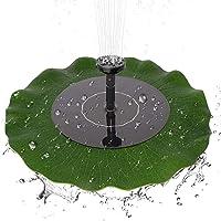 Eurobuy Bomba de Fuente Solar, 1.4W Bomba de Agua sin escobillas de Fuente de Hoja de Loto Flotante de energía Solar para la decoración del baño del pájaro del jardín de la charca